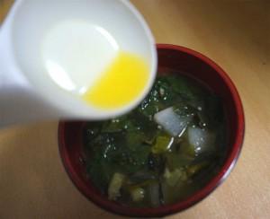 味噌汁に亜麻仁油をプラス