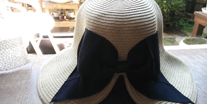 ポニーテールリボンハット ママ麦わら帽子